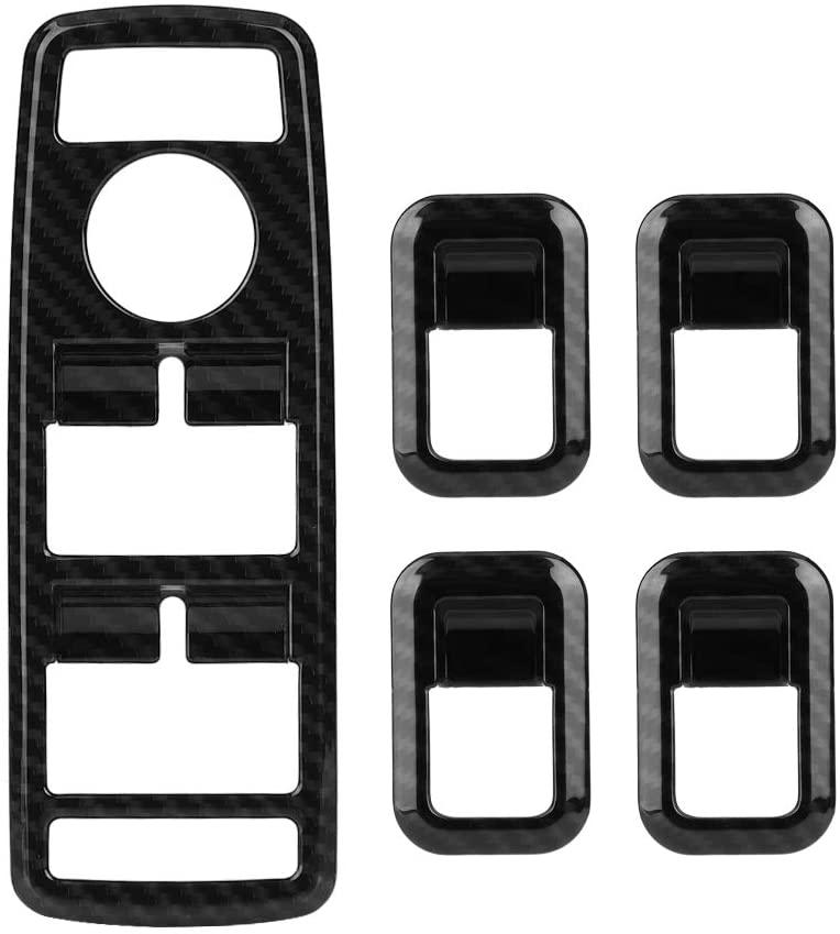 Qiilu Window Switch Button Trim, 5Pcs Carbon Fiber ABS Plastic Car Window Switch Button Cover Trim Fit for Mercedes Benz A B C E CLA GLA GLK ML GLE Class
