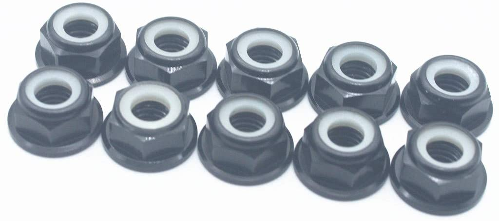 20 Pcs M6 Nuts Flanged Nylon Lock Nut Nylock Self-Lock Aluminum Nuts (Black)
