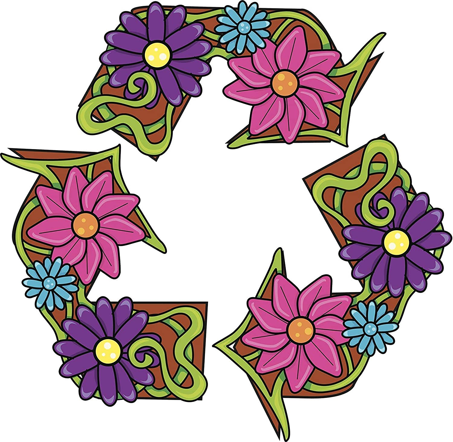 EW Designs Magnet Recycle Sign Made with Flowers RED Green Pink Turquoise Purple Magnetic Vinyl Magnet Bumper Sticker Two in One Pack (4 Inches Wide)