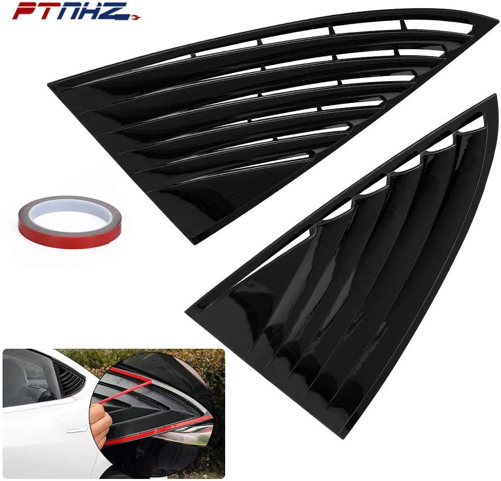 PTNHZ Original Black Exterior Cover Trims Accessories Rear Side Window Louver Shutter Cover Trim Relacement For 2017 2018 2019 Tesla Model 3