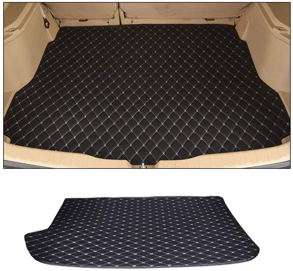 SLONG for BMW 6series GranTurismo 2018-2019 4-Doors Custom Car Trunk Mat All Weather Cargo Liner Heavy Duty PVC Leather Non-Slip Pet Mats Black and Beige