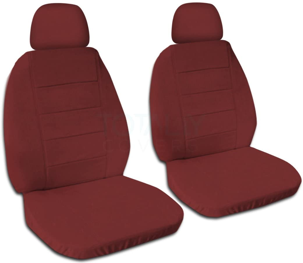 Totally Covers Solid Color Car Seat Covers w 2 Separate Headrest Covers: Burgundy - Universal Fit - Front - Buckets - Option for Airbag, Seat Belt, Armrest & Seat Release/Lever Compatible (22 Colors)