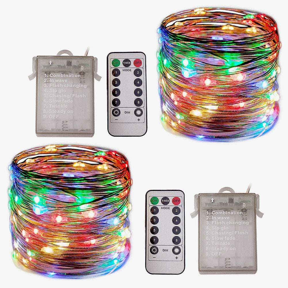 Huakway Led String Lights (2-Pack),33ft 100 LEDs Multi Colors, 8 Modes Waterproof Battery Powered Siver Wire Starry Fairy Lights with Timer Holiday Decoration