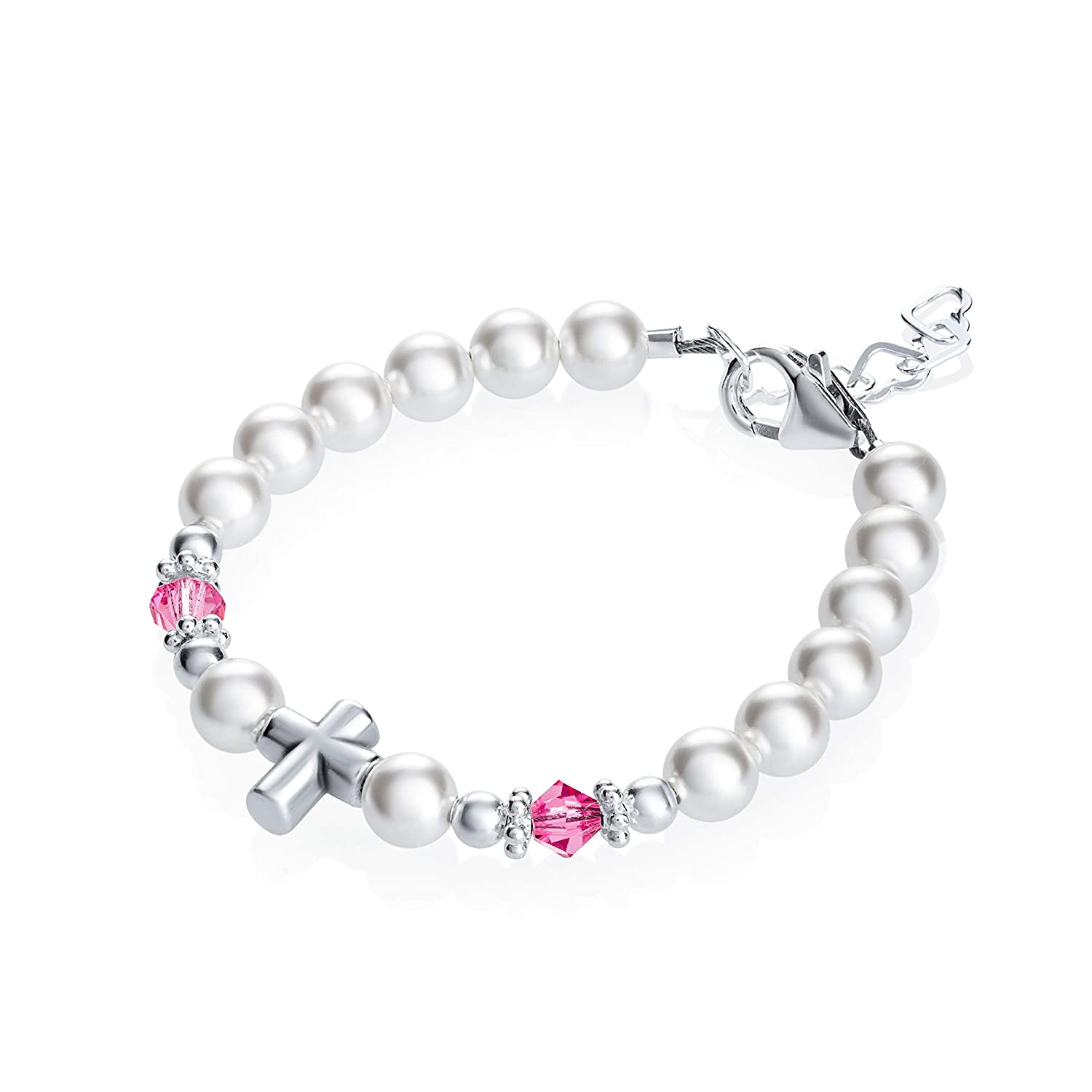 Baptism Sterling Silver Cross Bead with Swarovski White Simulated Pearls Pink Crystals Baby Bracelet (BSCHP_L)
