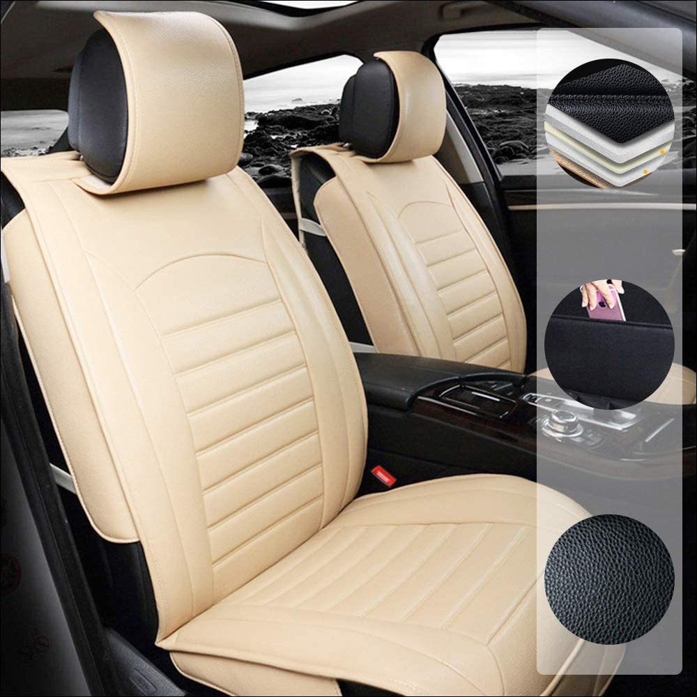 Car Seat Cover for Volkswagen T-Cross 5-Seats Protection Soft Waterproof Full Set PU Leather Car Front+Rear Seat Pads Beige Standard 5PCS