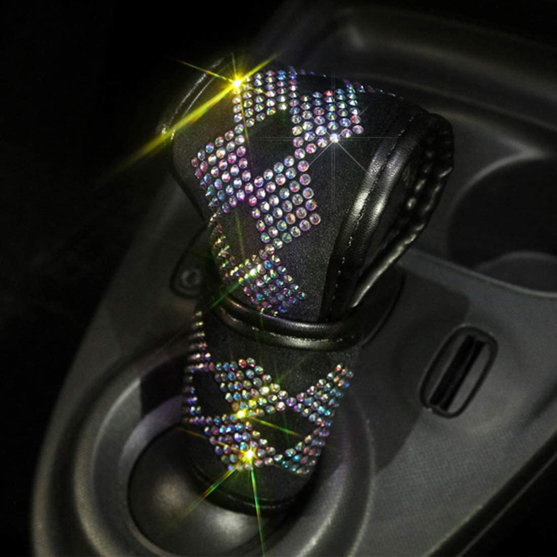 Bling Bling Auto Shift Gear Cover, Luster Crystal Car Knob Gear Stick Protector Diamond Car Decor Accessories for Women(PDT-LX)