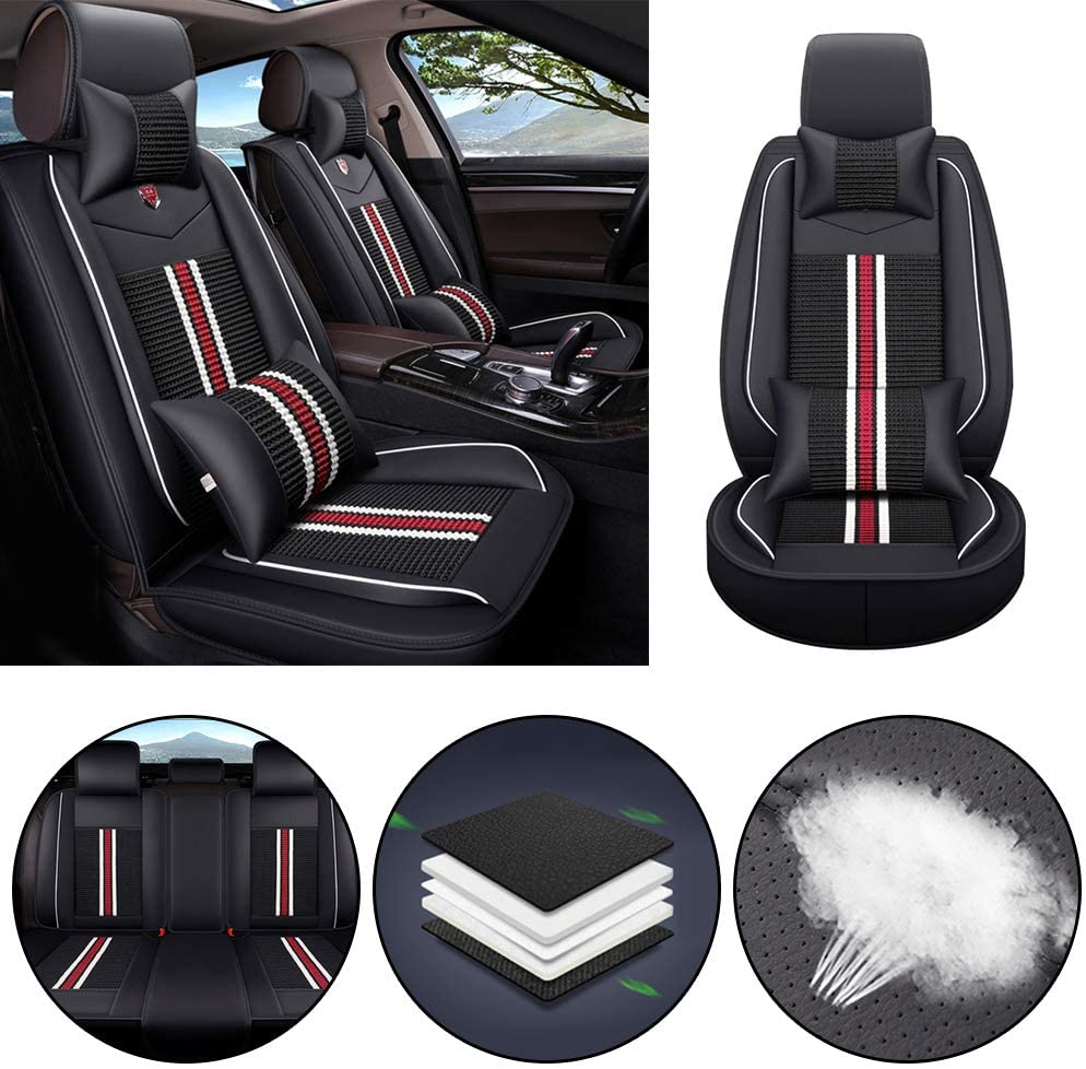 Jiahe Car Seat Cover for Porsche Macan Cayenne Panamera Universal Car Seat Protectors 5-Seat Full Set Artificial Leather Waterproof,Easy Install,Black red Deluxe
