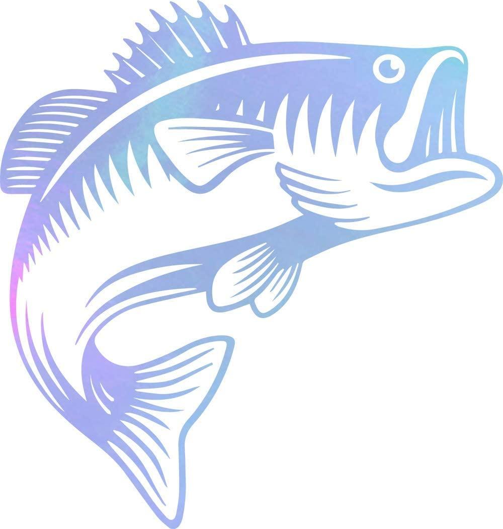 NBFU DECALS Jumping Bass Fish Fishing (Hologram) (Set of 2) Premium Waterproof Vinyl Decal Stickers for Laptop Phone Accessory Helmet Car Window Bumper Mug Tuber Cup Door Wall Decoration