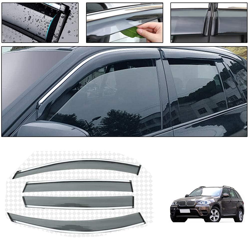 Side Window Deflectors for BMW X5 2008-2013 Car Window Visor Sun Rain Smoke Vent Shade Tape-On Outside Visors