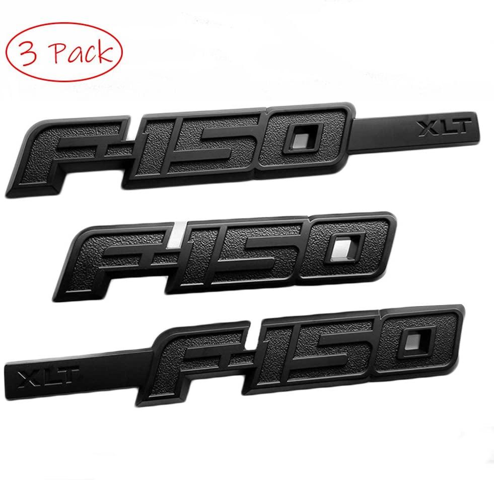 UpAuto 1 Set F-150 XLT Emblem Badge 3D F150 Rear Tailgate Nameplate Sticker (Black)