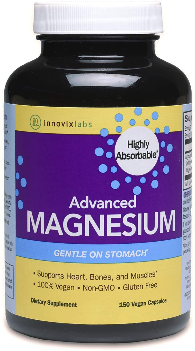 InnovixLabs Advanced Magnesium, 150 Capsules, High Absorption Magnesium Malate & Magnesium Glycinate, Highly Bioavailable Chelated Magnesium, 210 mg per Serving, Soy & Gluten-Free, Non-GMO & Vegan