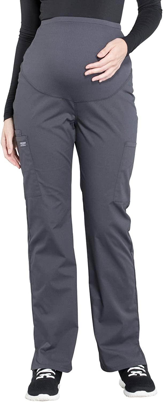 Cherokee Workwear Professionals Maternity Straight Leg Scrub Pant, XS Petite, Pewter
