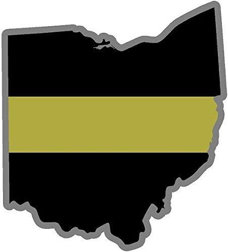 Vinyl Overlays 720 4 Ohio OH State Thin Gold Line Dispatcher Dispatch 911 9-1-1 Decal Sticker Car Bumper Window