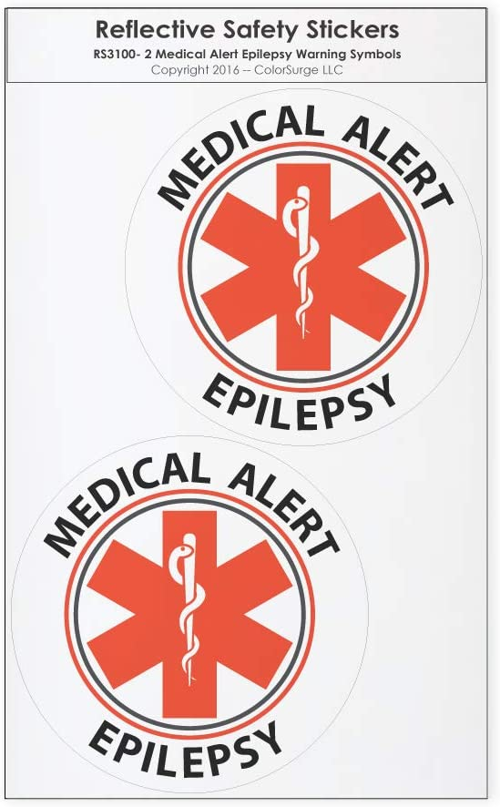 CoolHubcaps Medical Alert Epilepsy Reflective Decals - for Wheelchairs, Car Bumpers & Windows - Weatherproof & UV Resistant - Indoor & Outdoor Use - 2.25 x 2.25 Inches (2 Pack, Small)