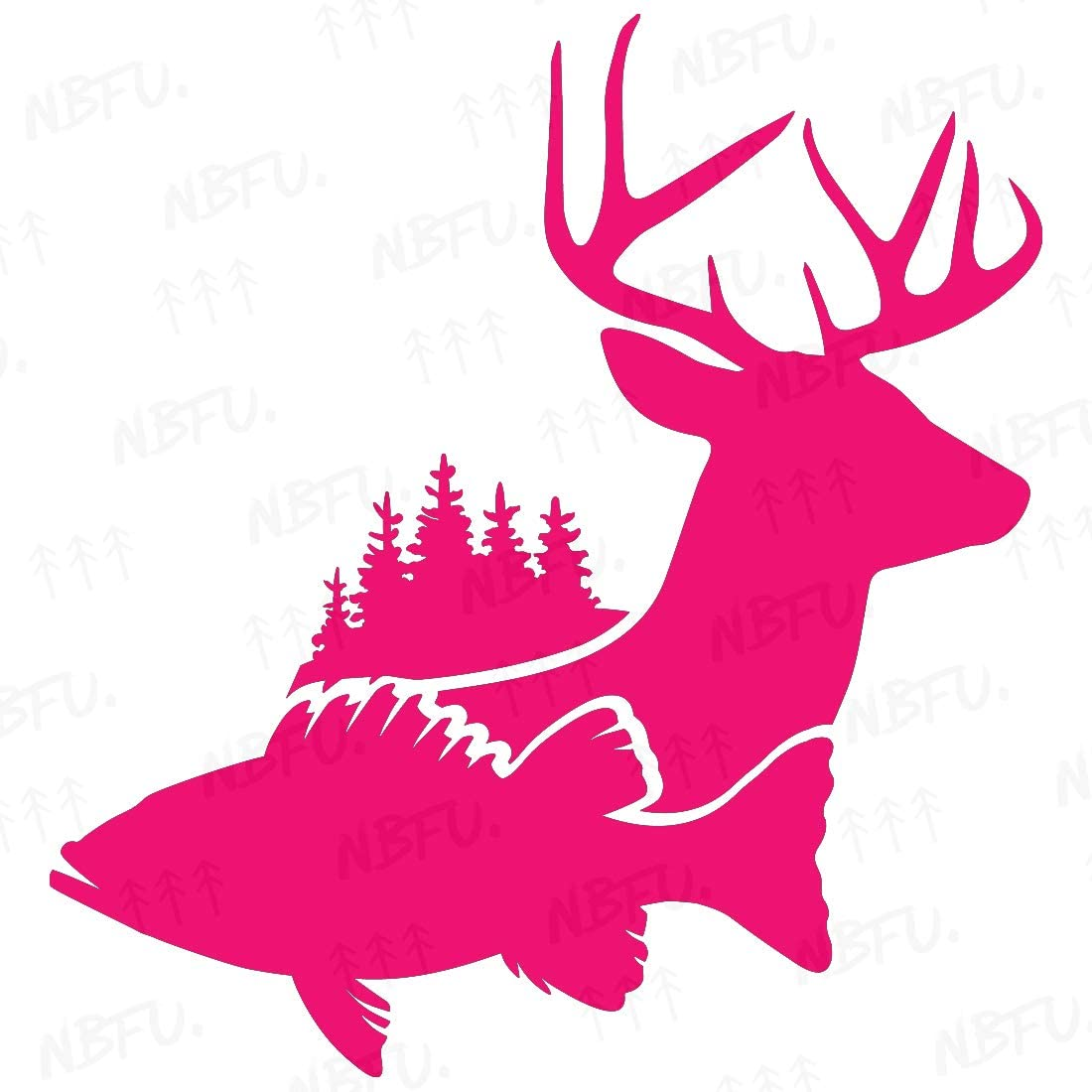 NBFU Decals Fish Deer Whitetail Hunting Forest (Pink) (Set of 2) Premium Waterproof Vinyl Decal Stickers for Laptop Phone Accessory Helmet Car Window Bumper Mug Tuber Cup Door Wall Decoration