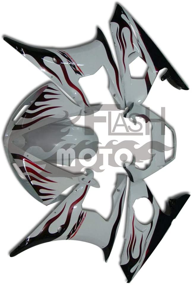 FlashMoto Fairings for Yamaha YZF-600 R6 2003 2004 Painted Motorcycle Injection ABS Plastic Bodywork Fairing Kit Set White, Red