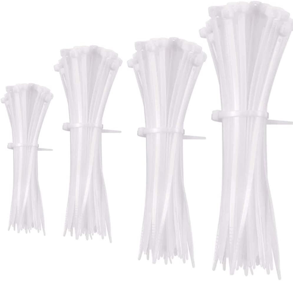 Cable Ties,4 Style, 5.9 Inch /7.87 Inch/9.84 Inch/11.81 Inch Long, Multipurpose Small Zip Ties, Nylon Plastic Ties, 2.7mm Width, Durable, Self-Locking (Pack of 400, White)