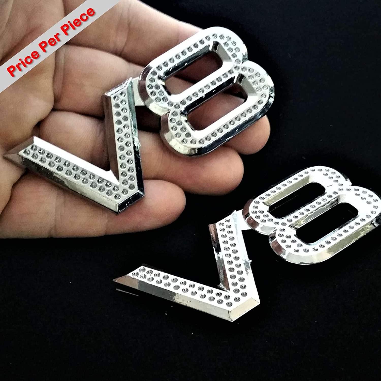 SAISDON- V8 Iced Out 3D Chrome Car Badge Decal Emblem Trunk Side Logo Insignia Auto Adhesive Sticker Abs [1 Piece][7000IO]