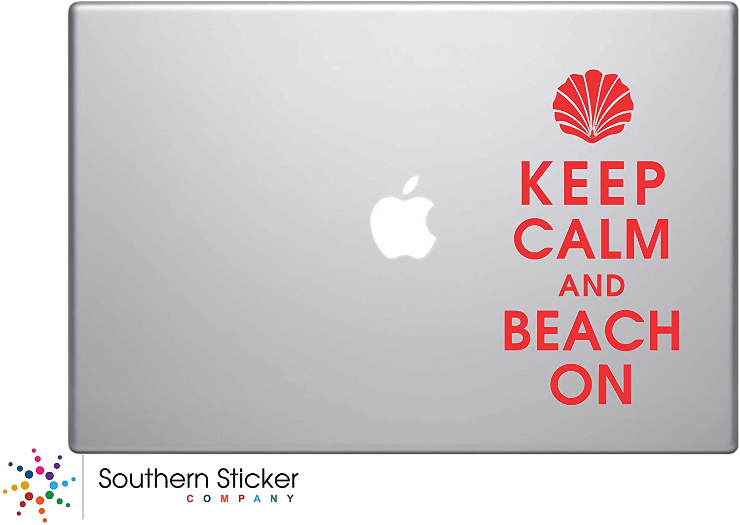 Keep Calm Beach on Vinyl Car Sticker Symbol Silhouette Keypad Track Pad Decal Laptop Skin Ipad Macbook Window Truck Motorcycle (Red)