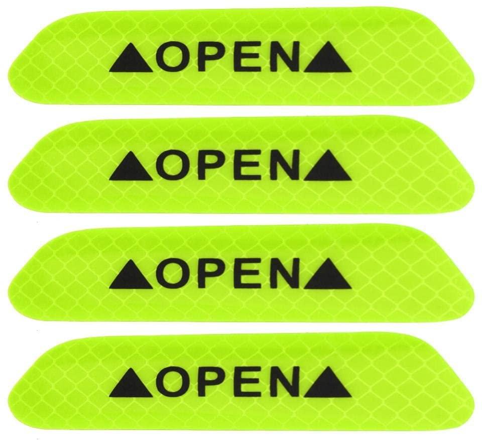 4Pcs/Set Car Door Stickers Safety Reflective Tape Open Sign Warning Mark Car Door Stickers Accessory Diamond fluorescent (Green)