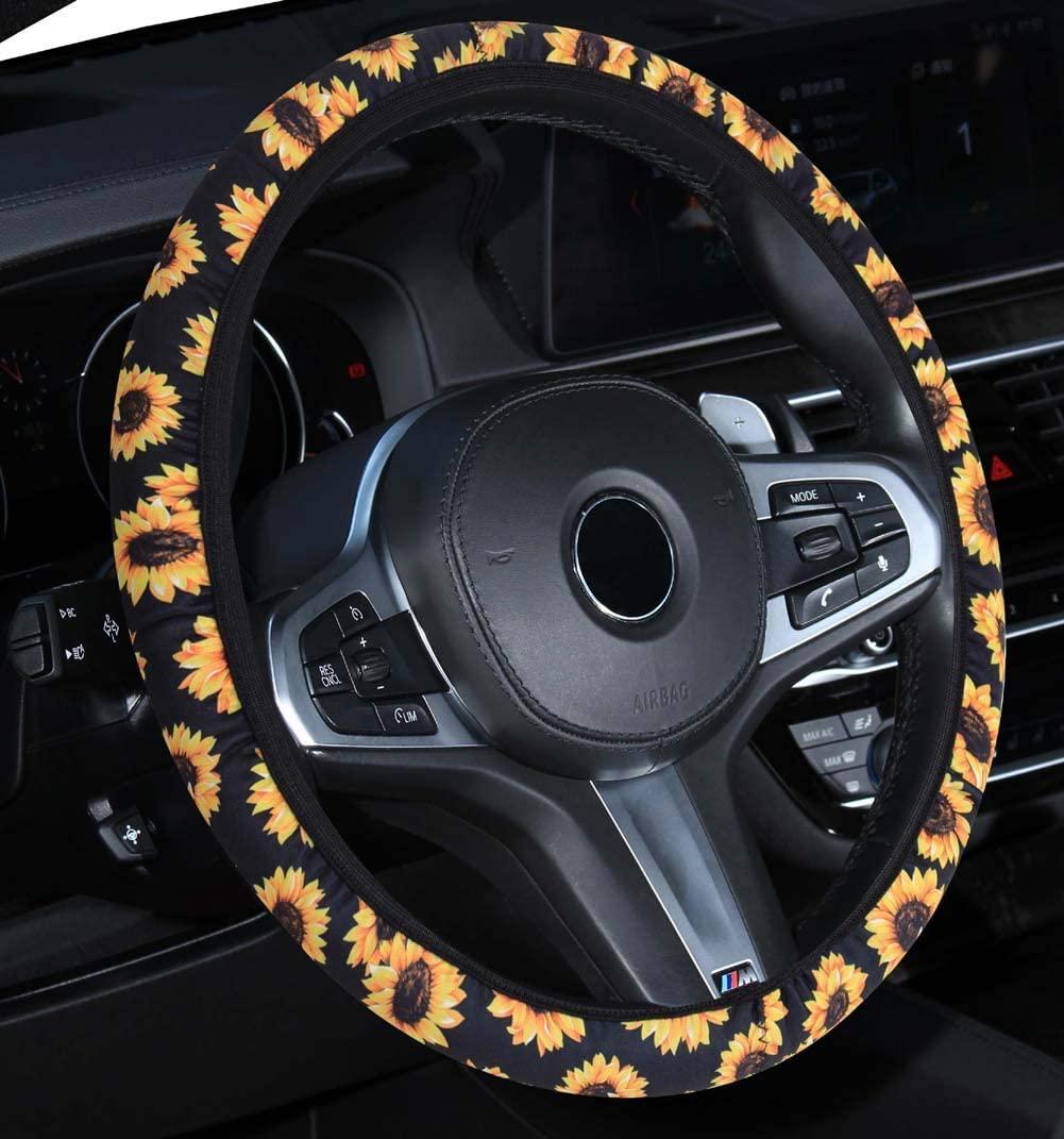 DuoDuoBling Sunflower Steering Wheel Cover for Women (Black)