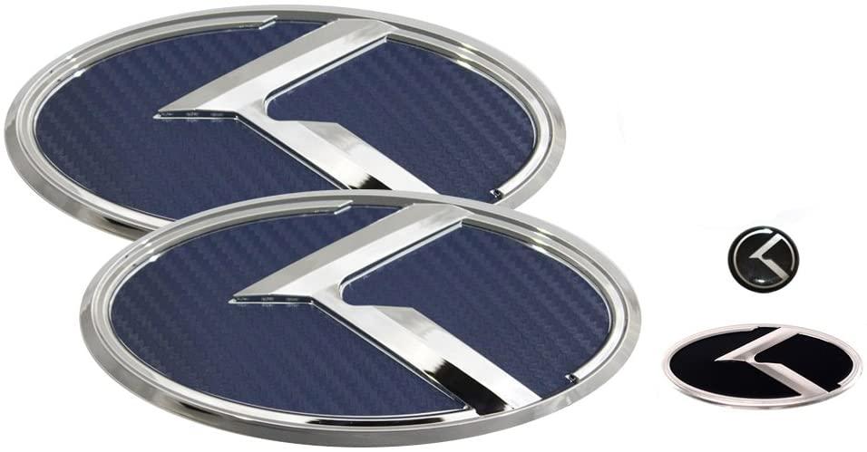 3D K Logo Emblem Blue Carbon Fiber & Chrome Edition Set 4pc Front + Rear + Steering Wheel + Mini Sticker (Fits: Hyundai 2012-2017 Veloster & Turbo)