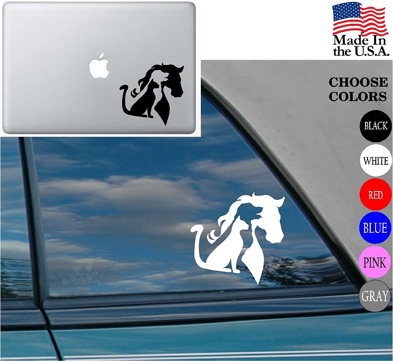 Animal Lover Horse Dog Cat Love Pet Vinyl Decal Sticker for Car Window Laptop (2) Cat Dog Horse, White)
