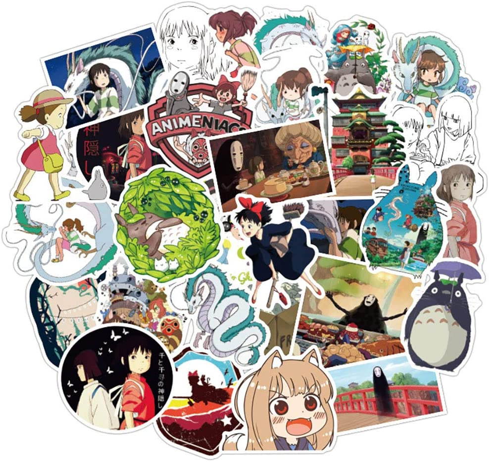 50 Pcs Stickers for Spirited Away,Funny Aesthetic Stickers for Water Bottle Laptop Skateboard Luggage Flask Computer Car Phone,Cool Trendy Vinly Waterproof Stickers for Teens Boys Kids Girl Adults.
