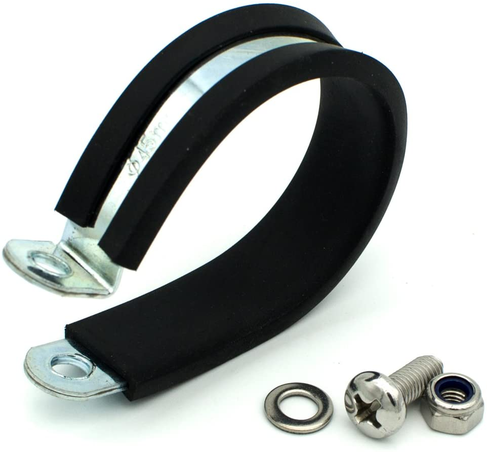 TOPINSTOCK 45mm Zinc Plated Rubber Lined R Shaped P Clips Wiring Hose Clamp for Mounting 1.75 Inch Pipe Pack of 10