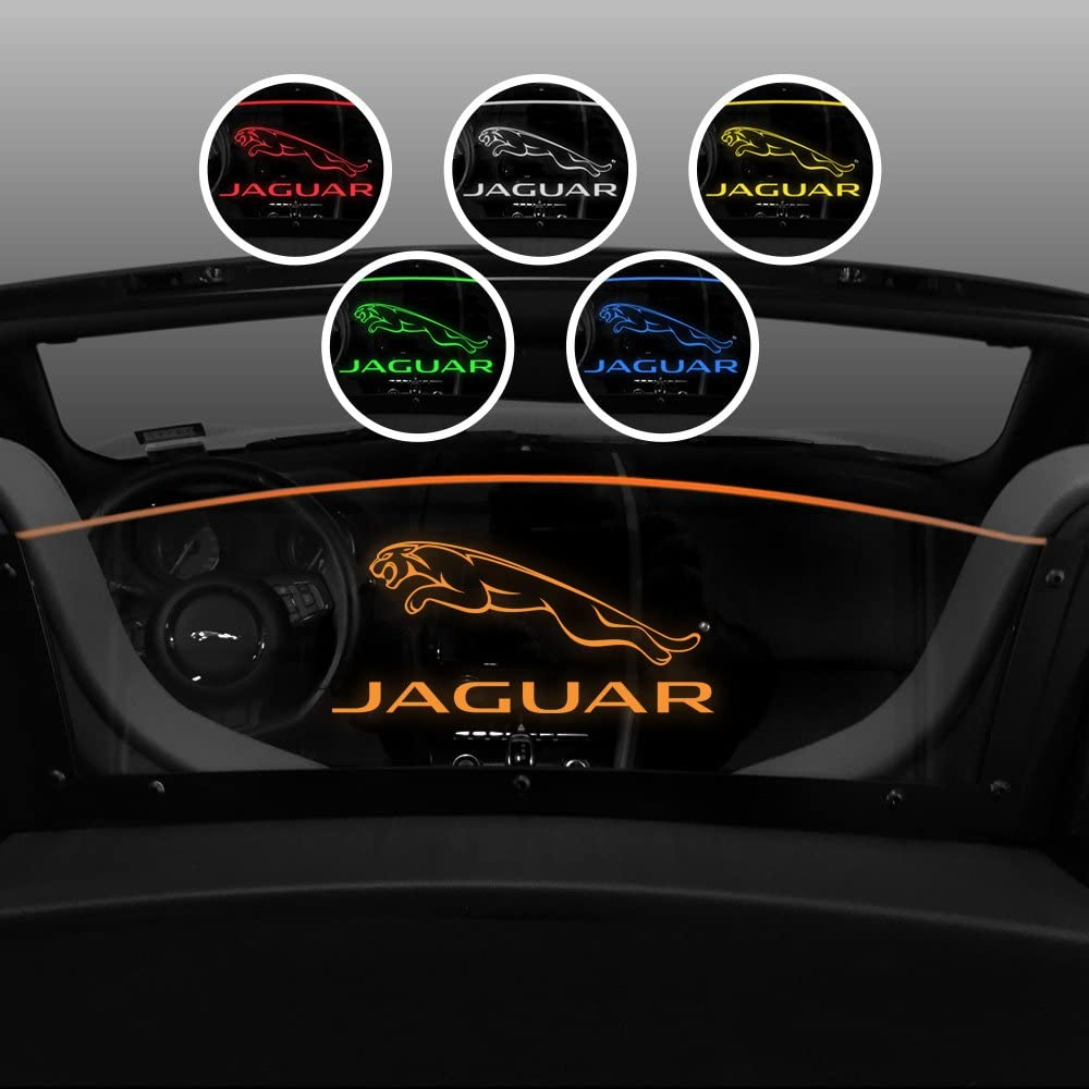 Windrestrictor Wind Deflector for Jaguar F-Type Convertible | 2013-2018 | Wind Block for Convertibles | Controls Backdraft Air Flow | Laser Etched Jaguar Logo & Brand | Orange Color LED Illumination