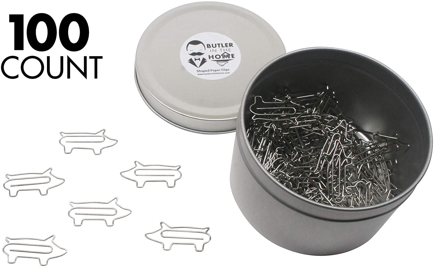 Butler in the Home Pig Shaped Paper Clips Great for Paper Clip Collectors or Office Gift - Comes in Round Tin with Lid and Gift Box (Silver)