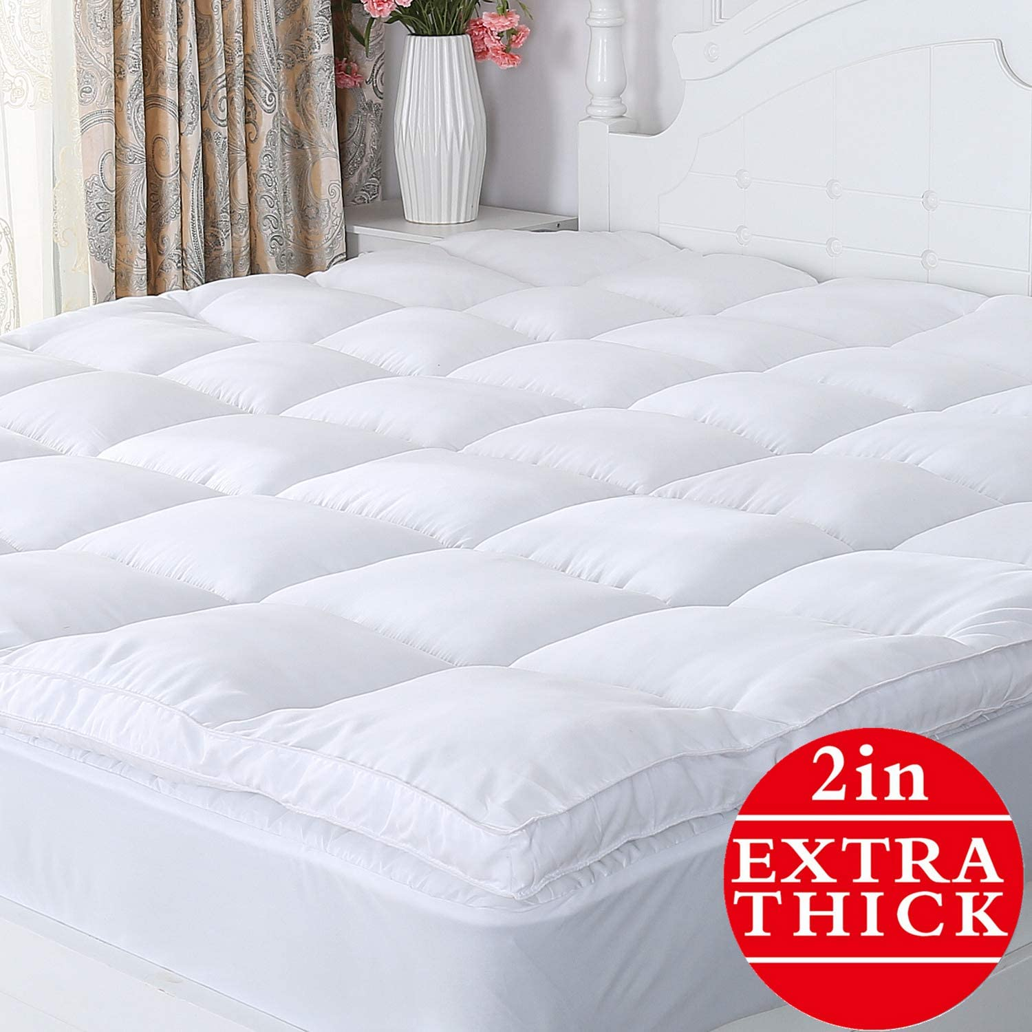 Naluka Mattress Topper King Size, Premium Hotel Collection Down Alternative Quilted Featherbed Luxury Microfiber 2 Inch Thick Mattress Cover(76''x80''