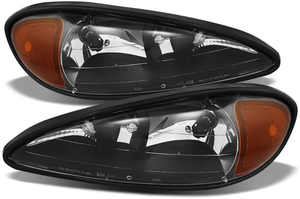 ACANII - For Black 1999 2000 20001 2002 2003 2004 2005 Pontiac Grand Am Headlights Headlamps Driver + Passenger Side