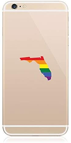 2X - Florida State Shaped Gay Pride Rainbow Flag Cell Phone Sticker Vinyl Decal Sticker LGBT FL Vinyl Made in USA