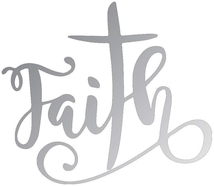 NBFU DECALS Christian Faith Crosss (Metallic Silver) (Set of 2) Premium Waterproof Vinyl Decal Stickers for Laptop Phone Accessory Helmet Car Window Bumper Mug Tuber Cup Door Wall Decoration
