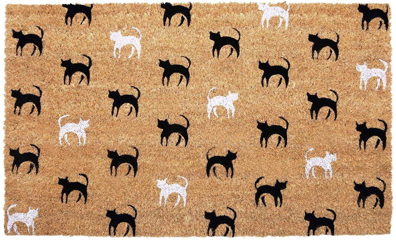 NIKKY HOME Coir Doormat Non Slip Front Door Mat with Cat Pattern - 18