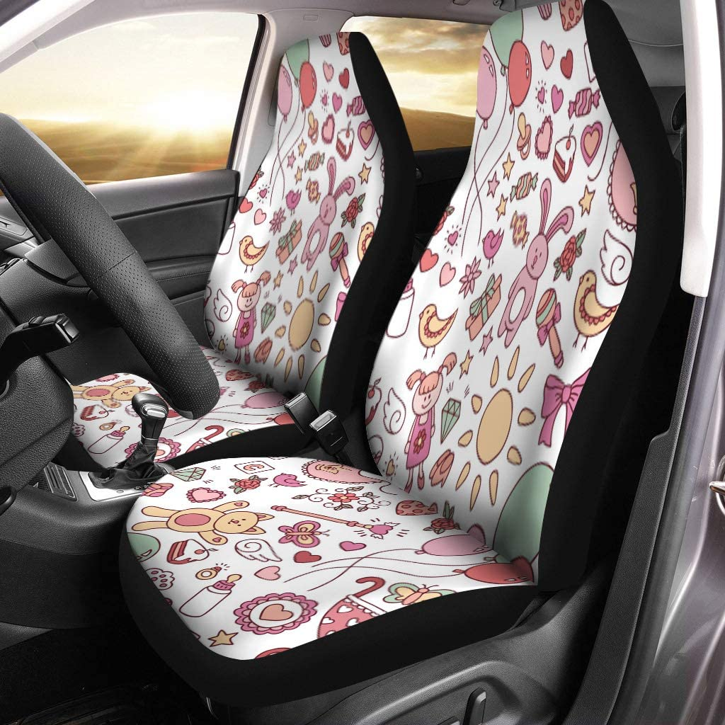 Semtomn Car Seat Covers Pink Baby Abstract Festive for Doodle Cartoon Birth Set of 2 Auto Accessories Protectors Car Decor Universal Fit for Car Truck SUV