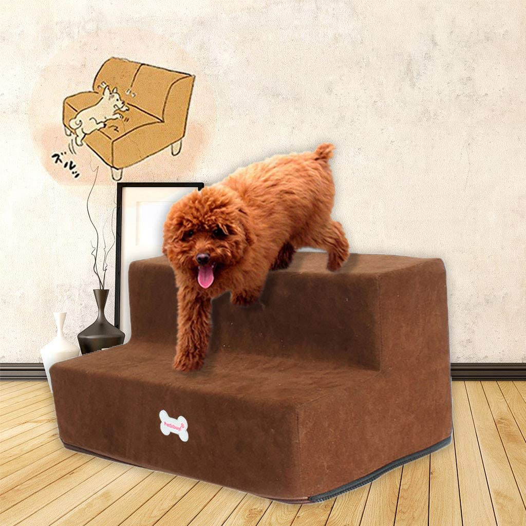 Foldable Pet Steps/Stairs,Genamis Detachable Soft High-Density Sponge Foam Feeling Step,2 Steps Washable,Microfiber Cover Non-slip Bottom Ladder for Dogs & Cats,Puppy & Kitty Ramp Bed for Bed & Sofa