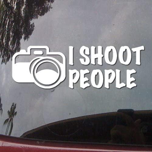 I Shoot People Camera Humor Symbol White Vinyl Car Sticker Symbol Silhouette Keypad Track Pad Decal Laptop Skin Ipad Macbook Window Truck Motorcycle