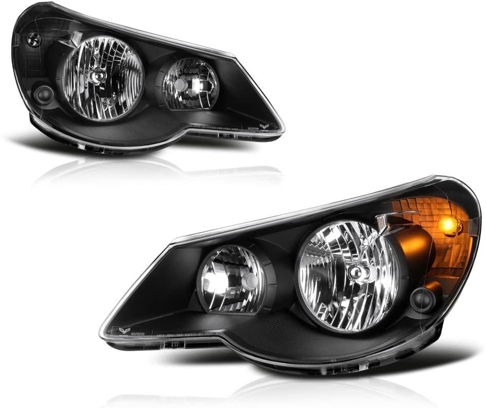 VIPMOTOZ For 2007-2010 Chrysler Sebring Headlights - Matte Black Housing, Driver and Passenger Side