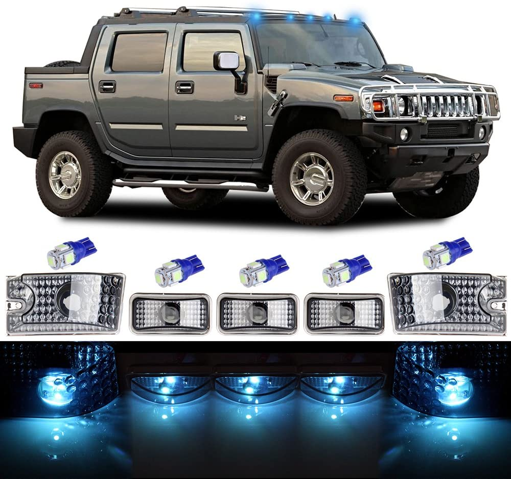 cciyu Cab Marker Light 5x Ice Blue Top Clearance Roof Running Light Bulbs Replacement Cab Marker Assembly Replacement fit for 2003 2004 2005 2006 2007 2008 2009 for Hummer H2
