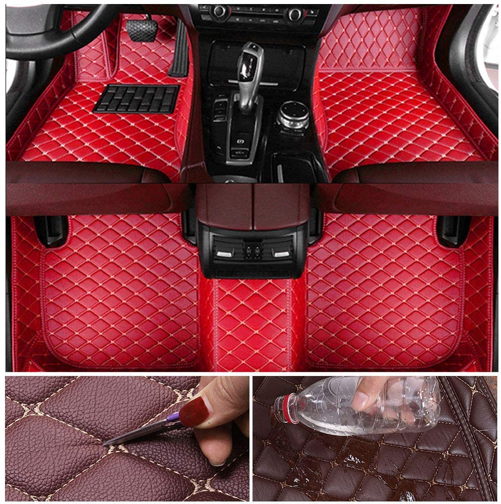 Custom Car Floor Mats for Jeep Wrangler Sahara 2011-2017 Leather Custom Fit All-Weather Protection Floor Liners Waterproof Foot Pad Carpets Red