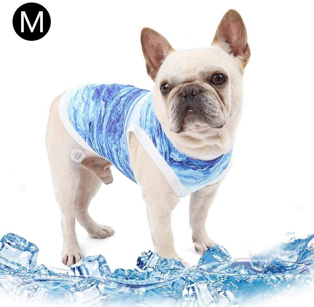 NMSLA Dog Cooling Vest Pet Cooling Vest Lightweight Cat Cooling Coat Dog Jacket Clothing (Blue)