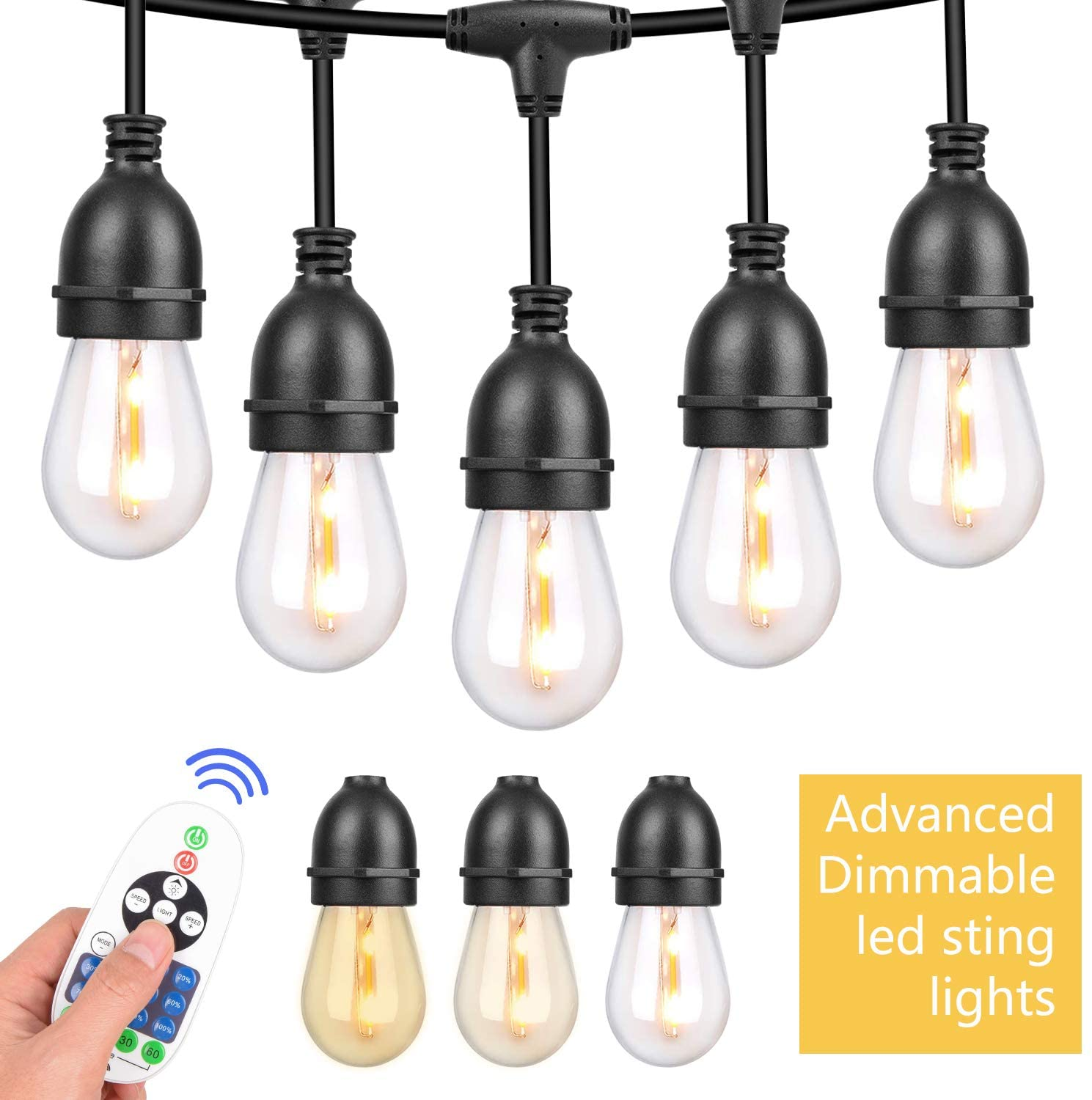 String Lights,Outdoor String Lights 42.3FT Weatherproof IP67 Window Curtain LED String Light Bulbs for Wedding Party Garden Wall Decoration Patio Bistro Dimmable Light with Wireless Remote Control