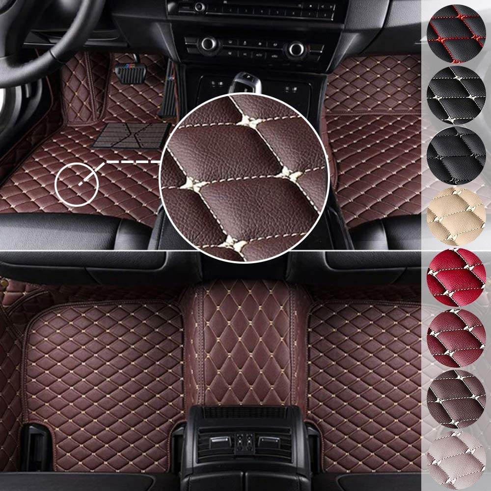 MyGone Custom Fit Car Floor Mats for Jaguar E-Pace F-Pace F-Type Coupe Convertable XE XF XFR XJ6 XJL XK XKR X-Type Super V8 I-Pace S-Type, Leather Floor Liners Waterproof (Coffee)