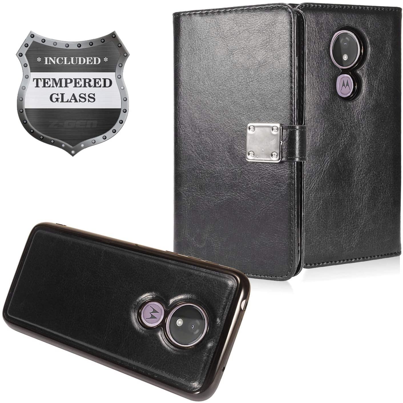 Z-GEN - Motorola Moto G7 Power (U.S. Version), G7 Supra XT1955 - Detachable Magnetic Flip Wallet Phone Case + Tempered Glass Screen Protector - MW2 Black
