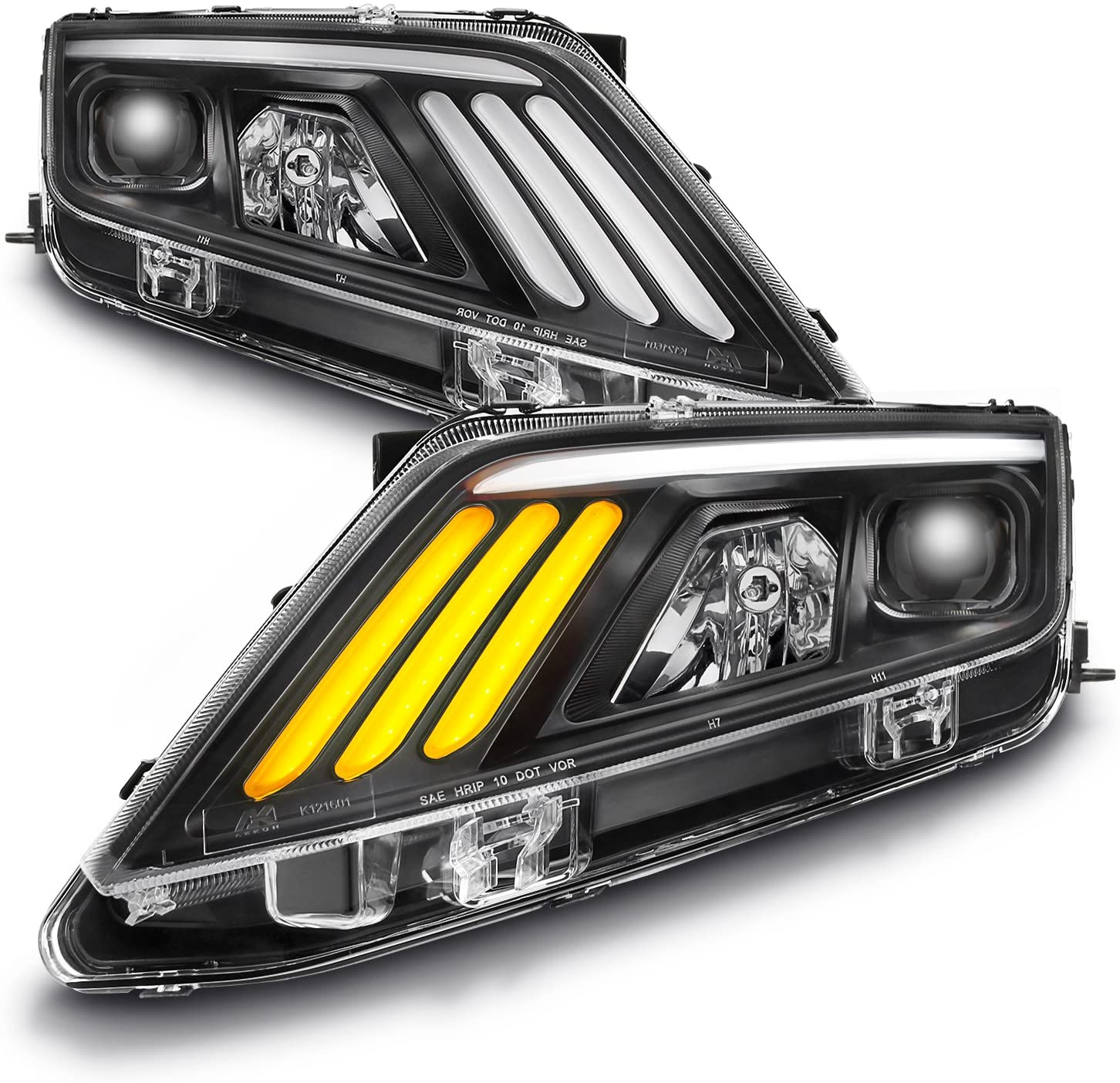 For 2010 11 12 Ford Fusion LED Daytime Running Lamp Strip Projector Headlights w/Sequential Turn Signal Black Housing Set
