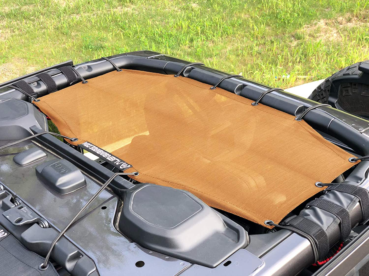 ALIEN SUNSHADE Jeep Wrangler JLU (2018-Current) Rear Sun Shade Mesh Top Cover (Orange) – 10 Year Warranty – Blocks UV, Wind, Noise