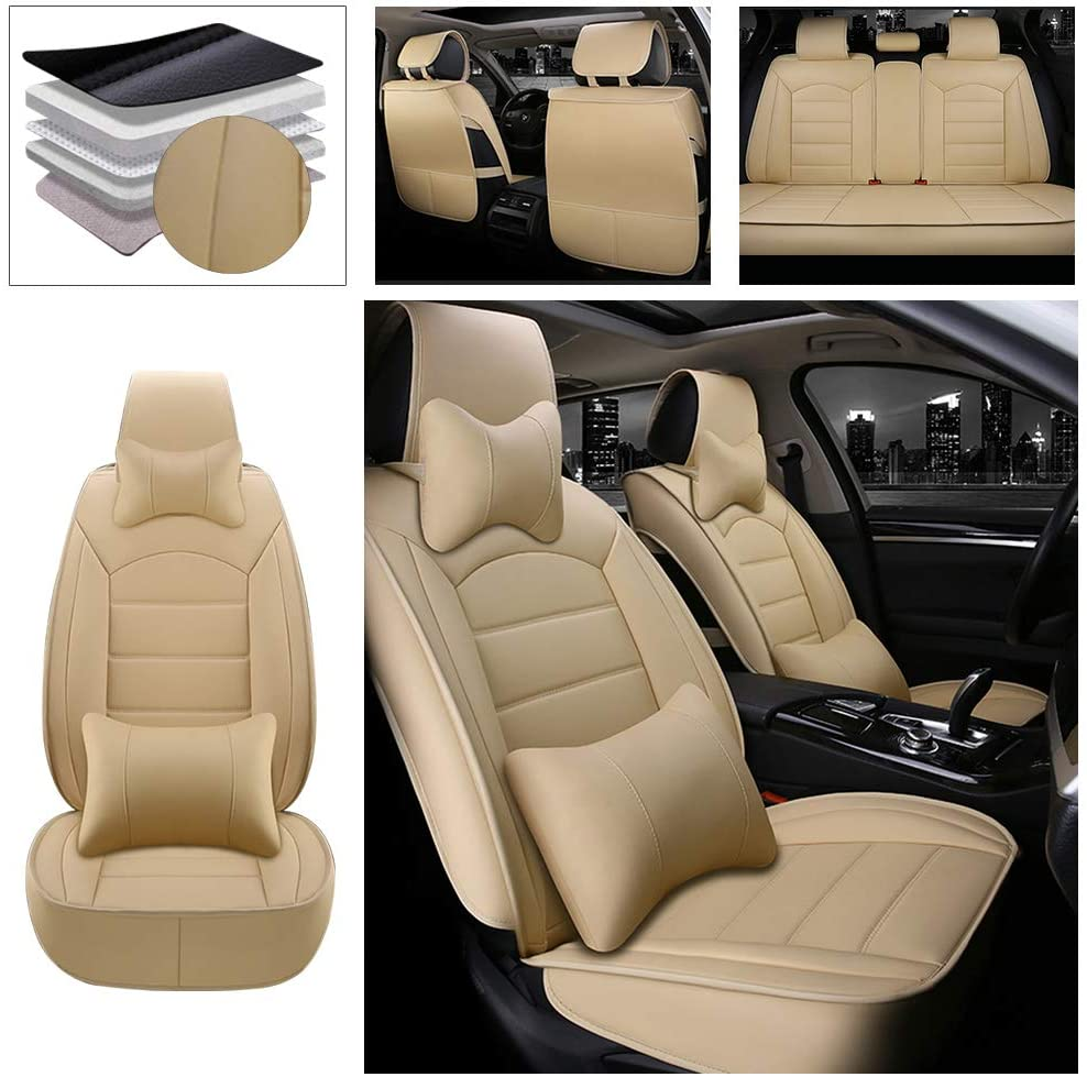 DBL Full Set Car Seat Cover for Ford Fiesta (Airbag Compatible) Luxury PU Leatherette Car Seat Cushions Protector Beige