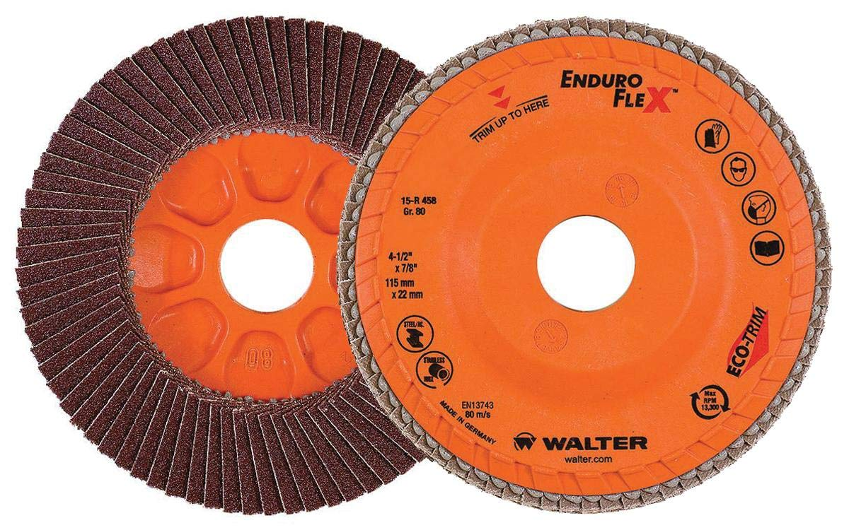 Walter 06B512 ENDURO-FLEX Abrasive Flap Disc - [Pack of 10] 120 Grit, 5 in. Finishing Disc with ECO-TRIM Backing. Blending Discs
